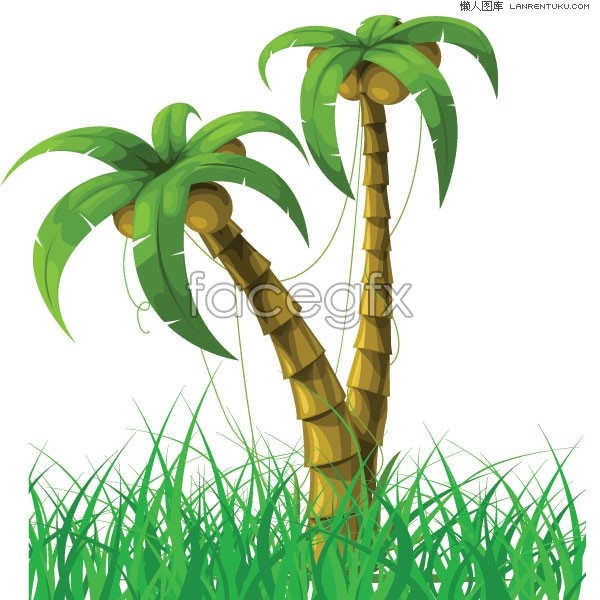 Coconut trees and green grass vector over millions vectors coconut trees and green grass vector download direct toneelgroepblik Image collections