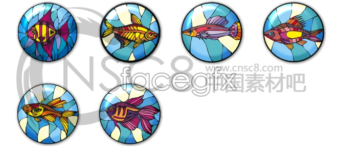 Coin-shaped tropical fish icon