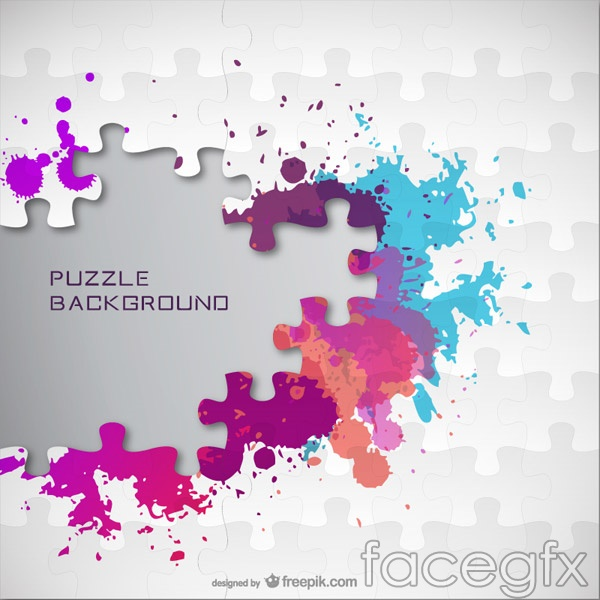 Color ink jigsaw puzzle vector