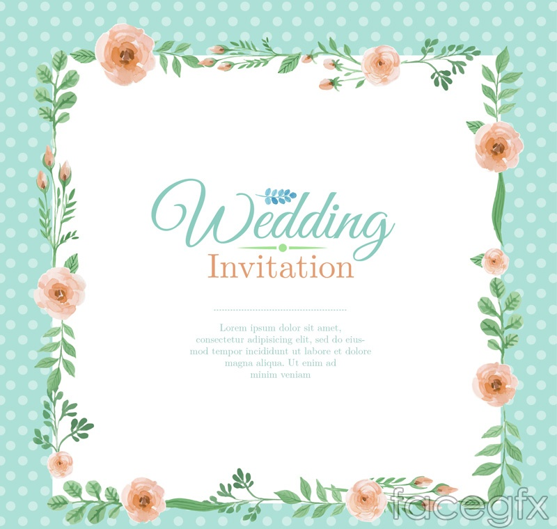 Color Wedding Invitation Cards The Flower Border Vectors Over