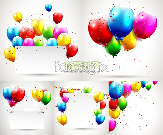 Colorful balloons advertising display panels vector