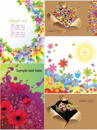 colorful flower card background vector