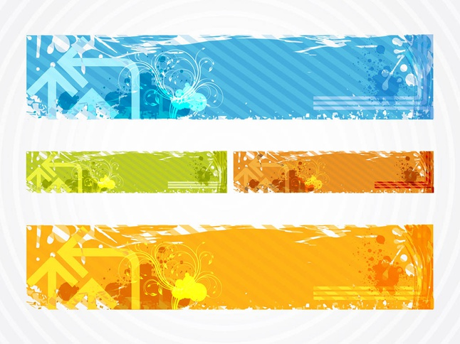 Colorful Grunge Banners vector free