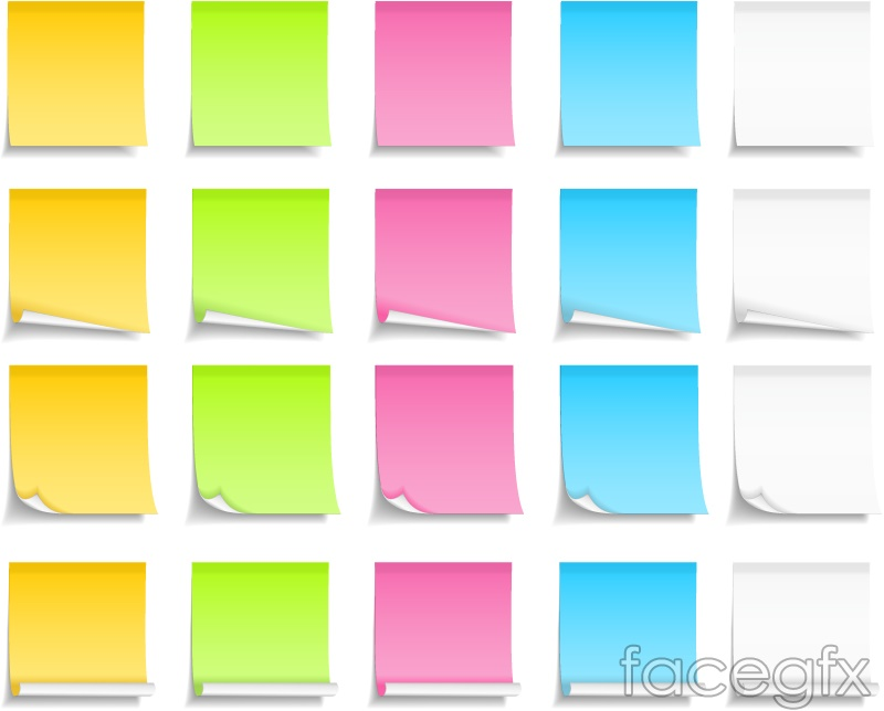 Charming Colorful Sticky Notes Design Vector