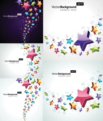 colorful threedimensional star background vector