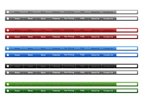 Colorful website menu bar