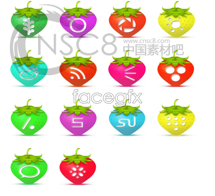 Coloring Strawberry desktop icons