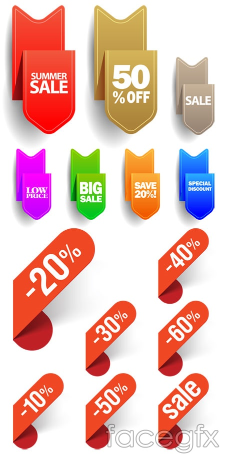 Colour discount tag tag vector
