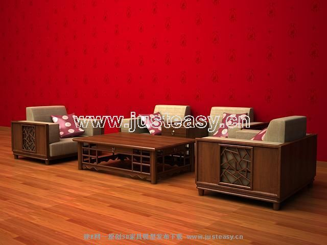 Combination Of Modern Chinese Wooden Sofa 3d Model Over Millions