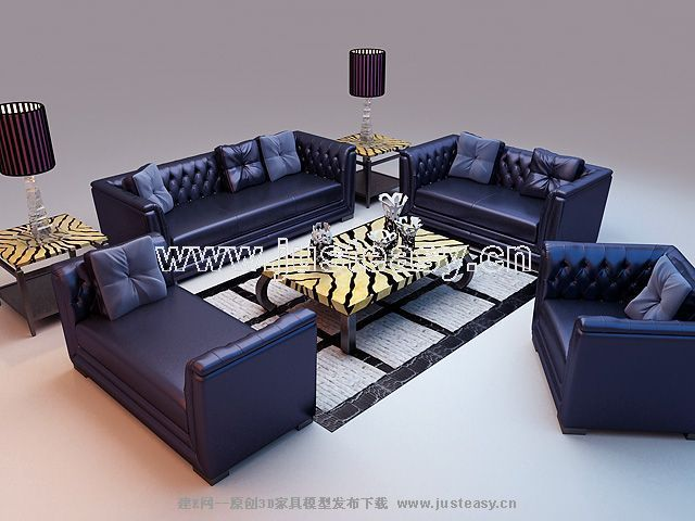 Combination of the blue leather sofa 3D model (including materials)