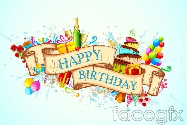Confetti Birthday Backgrounds Vector