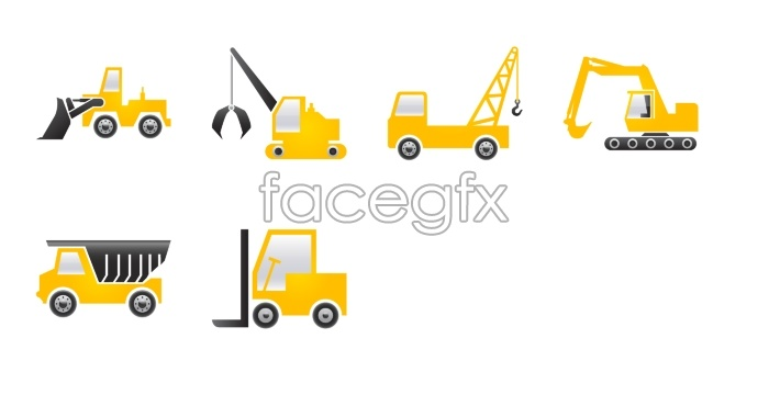 Construction machinery tools icons