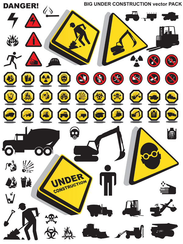 Construction safety icons