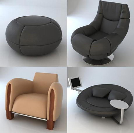 Contracted personality sofa chair 3D models