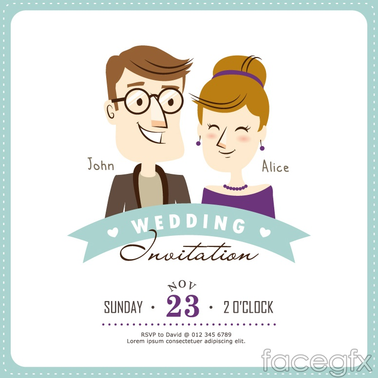 Creative Cartoon Wedding Invitation Card Vector Over Millions