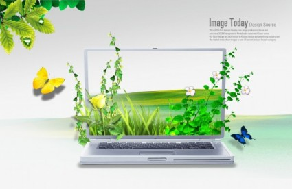 creative laptop poster template layered