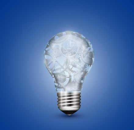 creative light bulb and blue background vector graphics 01 free, Powerpoint templates