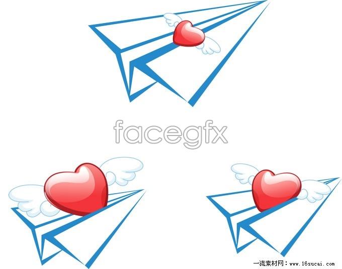 Creative love paper plane vector graphics