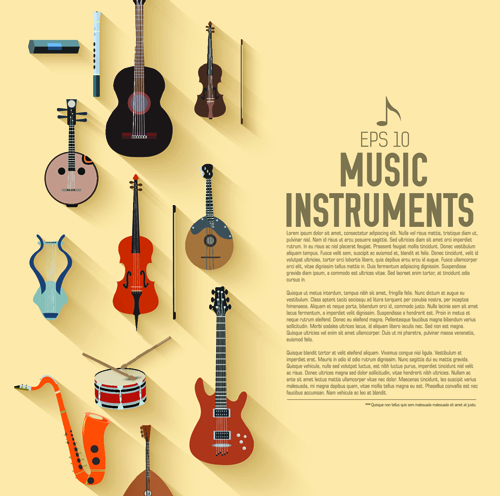 Creative music Instruments background vector graphics 03 free