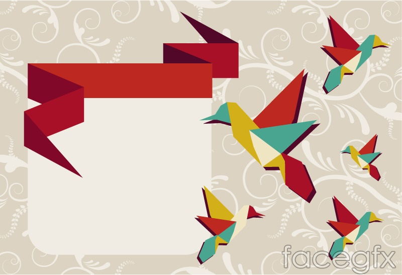 Creative Origami Hummingbird Background Vector Over