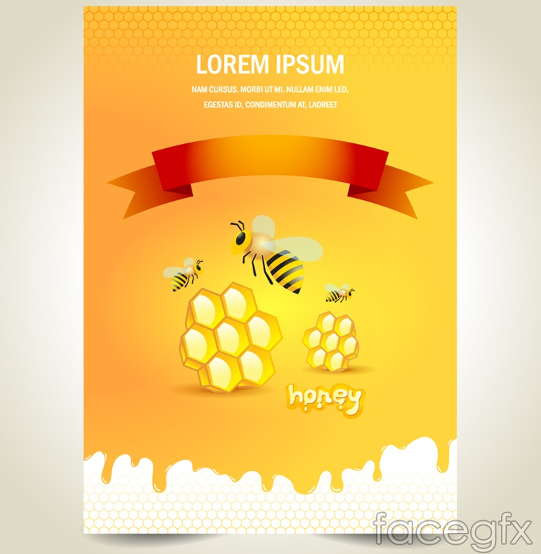 Creative Poster Design On Bees And Honey Vector Over