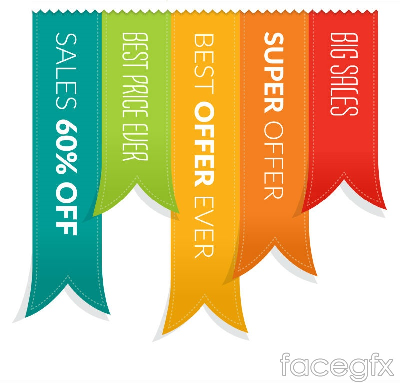 creative sale ribbons vector graphics over millions