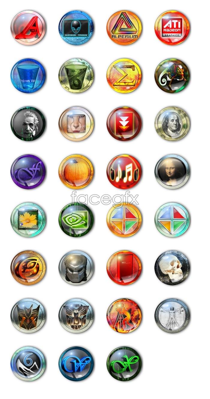 Crystal gaming computer icons