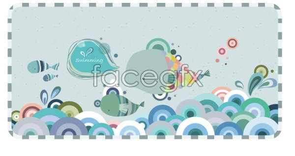 Current cartoon fish pattern vector