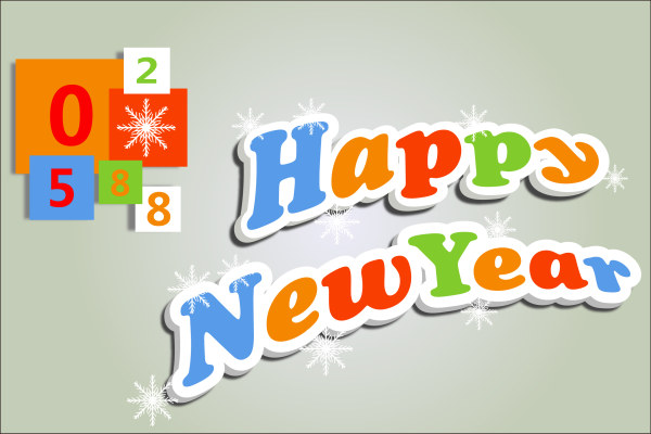 Cute 3D Happy New Year text design vector free