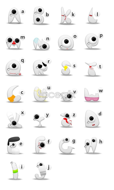 Cute alphabet icons