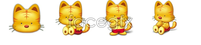 Cute baby tiger icons