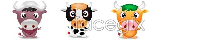 Cute cartoon cow icon