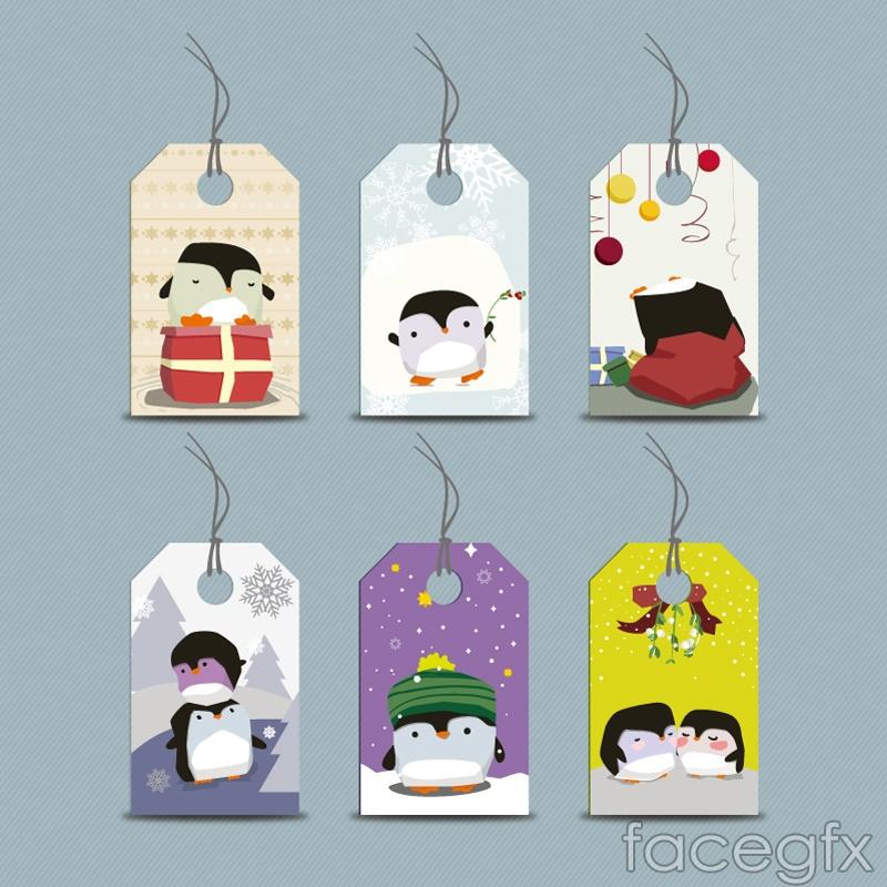 Cute cartoon Penguin tag vector