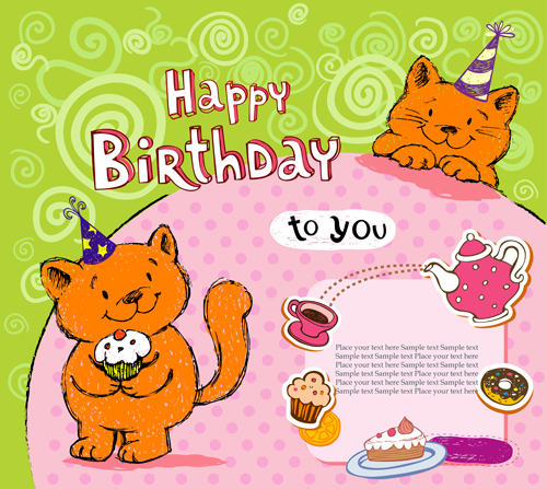 Cute cat birthday cards creative vector 03 free Over millions – Website for Birthday Cards