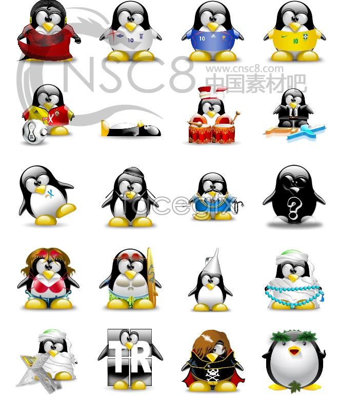 Cute penguin desktop icons