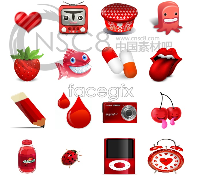 Cute red desktop icons