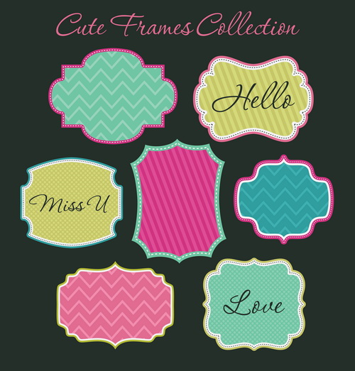99bfd9ec4bf Cute sweet frames set vector graphics 01 free – Over millions ...