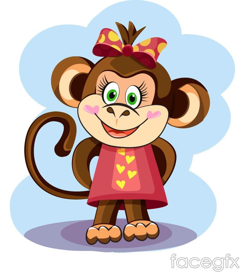 Cartoon monkey vector seamless patterns 01