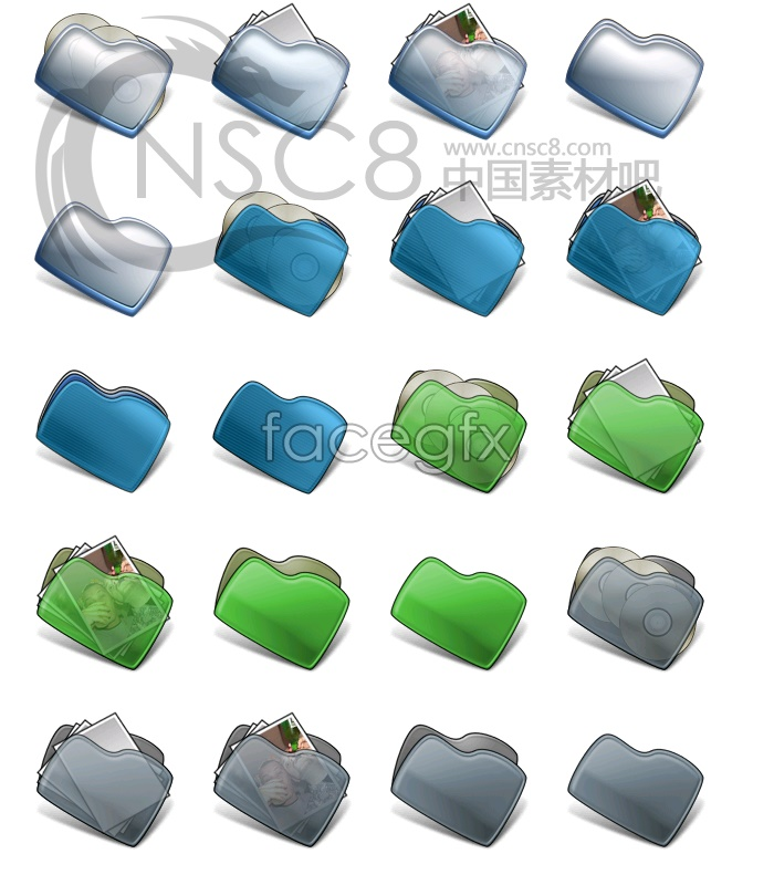 Dark blue bean-shaped folders