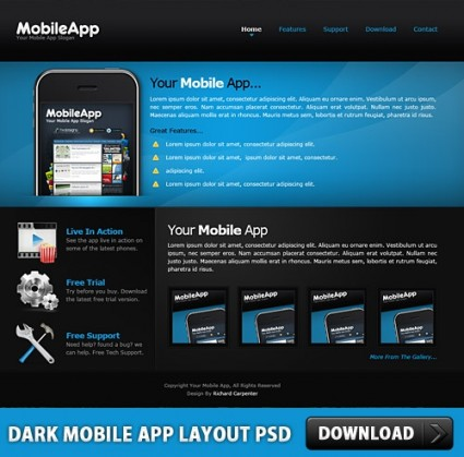 mobile site template free download - dark mobile app layout free psd over millions vectors