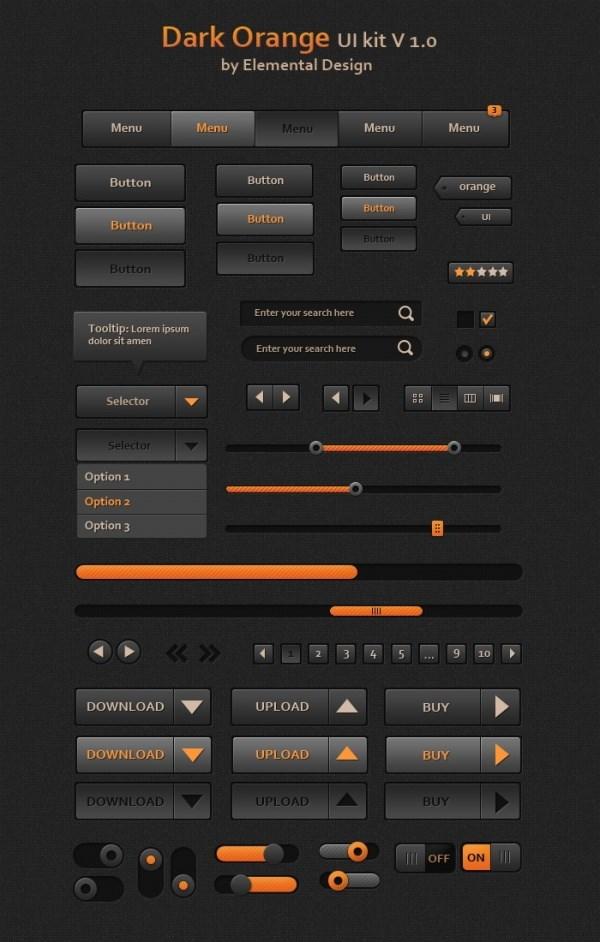 Dark orange ui toolkit psd free – Over millions vectors, stock
