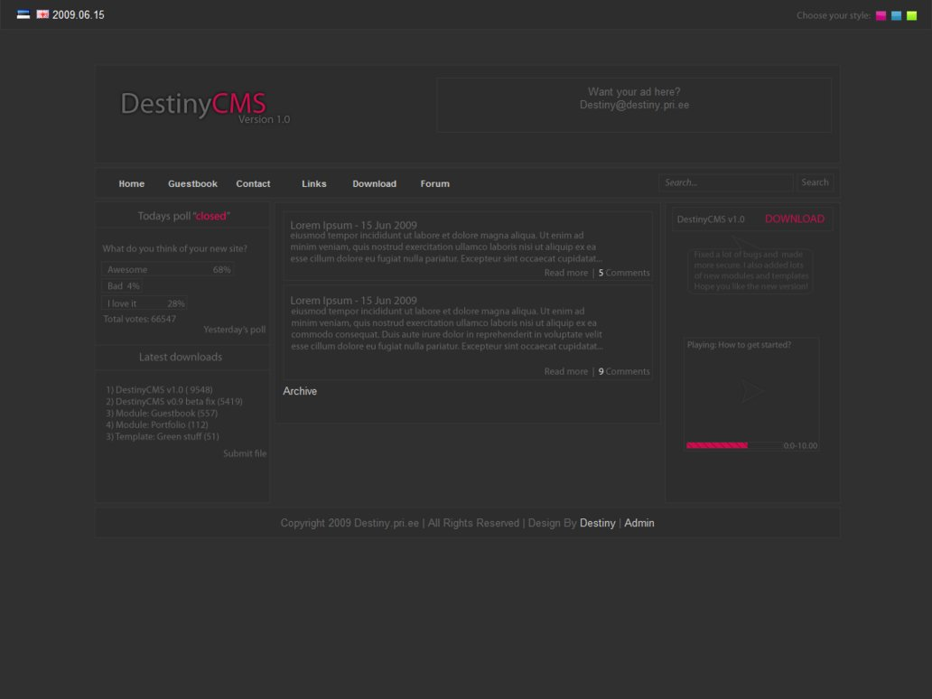 DestinyCMS Version 1.0