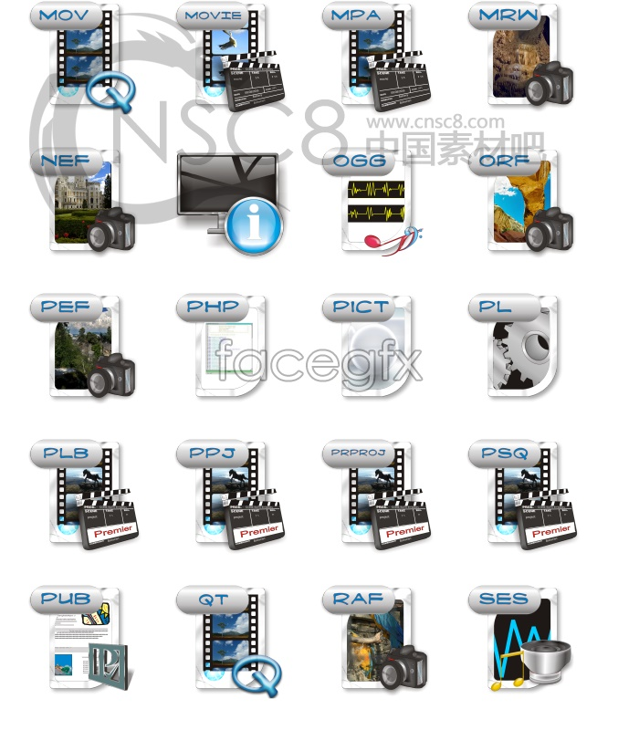 Digital photography series icons