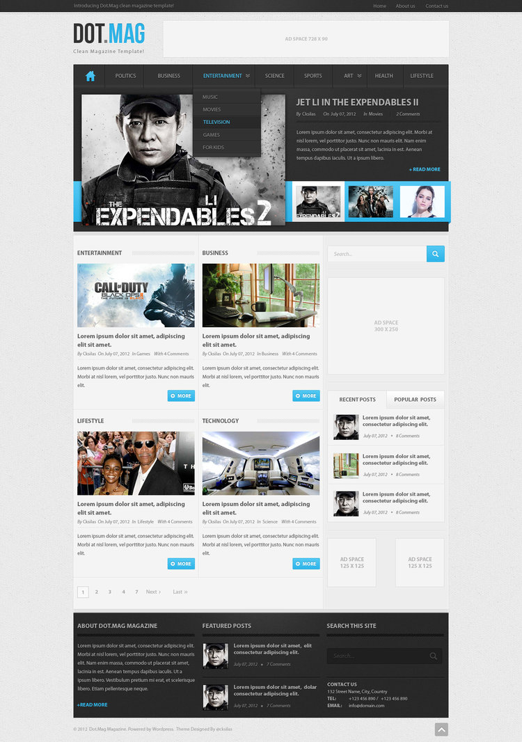 Dot.Mag PSD WordPress Magazine Template