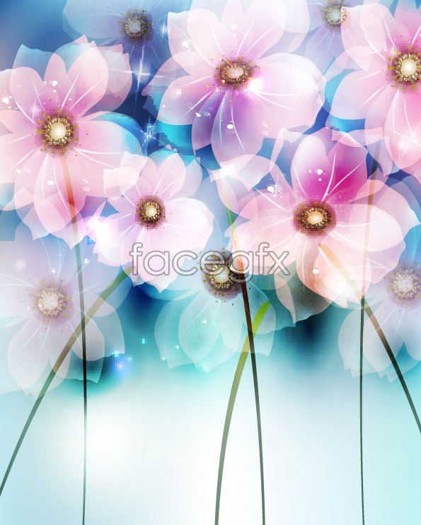 Dreamy flowers backgrounds vector