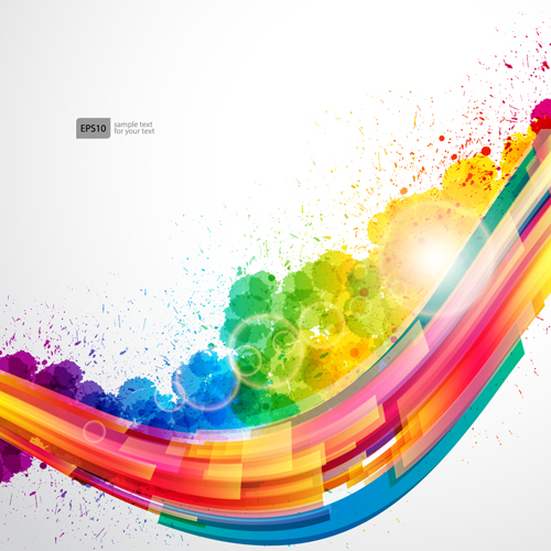 Dynamic elements and grunge background vector 02 free