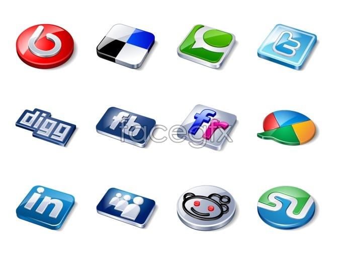 Dynamic stereo social media icons