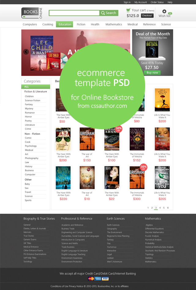 E-commerce Home Page Template PSD