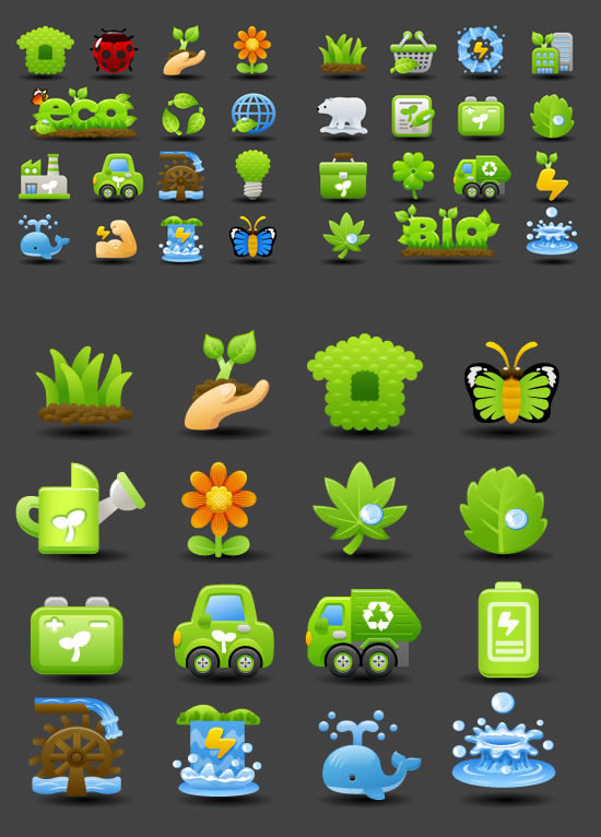 Ecological low-carbon icons