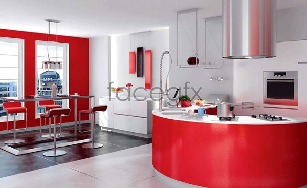 Effect picture of the kitchen 2 3D model